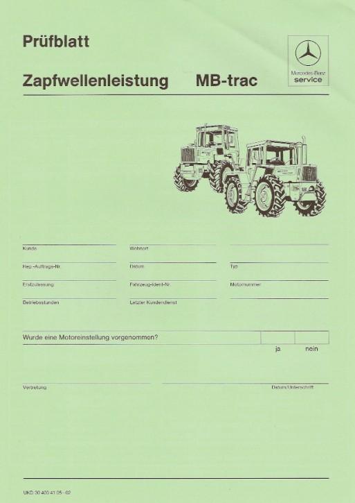 Prüfblatt Zapfwellenleistung MB-trac - 30 400 41 05 - 02 Original - 364001024