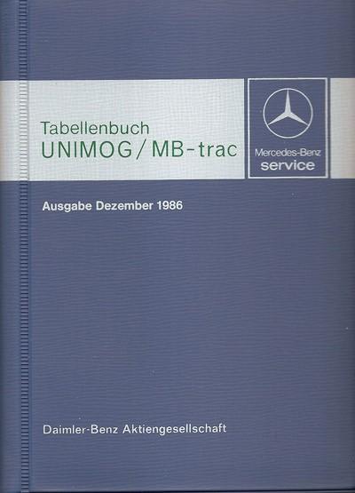 Tabellenbuch 1986 Unimog/MB-trac - 30 400 31 03 - 384001003