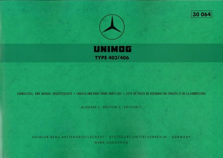 Ersatzteilliste Unimog 403 406 mit Sonderaustattungen - 30064 - 204001021