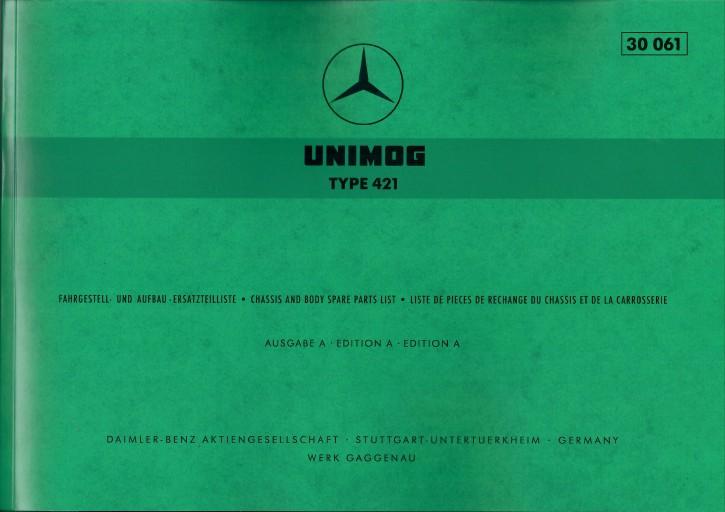 Ersatzteilliste Unimog 421 mit Sonderausstattungen - 30061 - 204001022