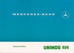 Notice d'entretien Unimog 404 - 30 403 51 33 - 324031001