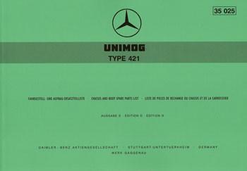 Ersatzteilliste Unimog 421 - 35025 - 204001007