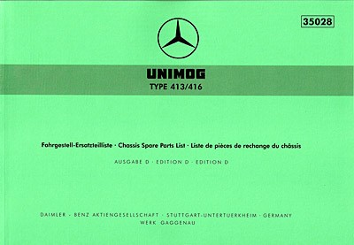 Ersatzteilliste Unimog 413 416 - 35028 - 204001006