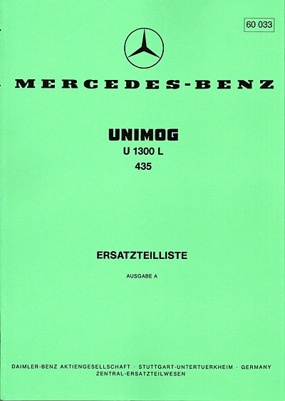 Ersatzteilliste Unimog 435 / U 1300 L - 60033 - 204001008