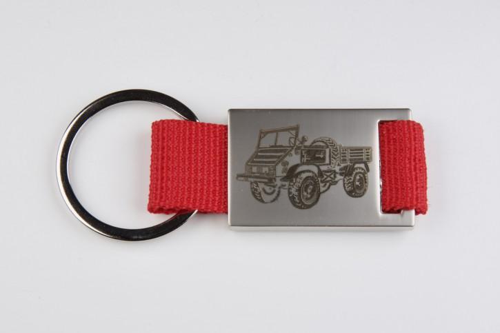 Schlüsselanhänger Unimog 411 mit rotem Band