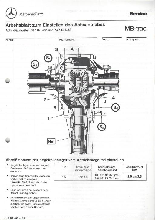 Arbeitsblatt zum Einstellen des Achsantriebes MB-trac 440 - 30 400 41 19 Original - 364001029