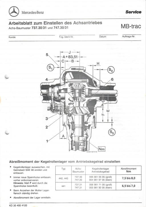 Arbeitsblatt zum Einstellen des Achsantriebes MB-trac 441 442 443 - 30 400 41 20 Original - 364001022