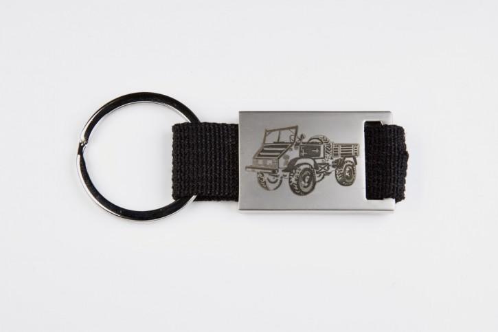 Schlüsselanhänger Unimog U411 mit schwarzem Band
