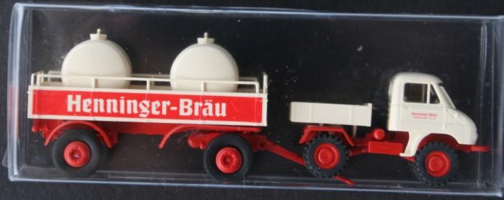 "Brekina Unimog 411 mit Anhänger ""Henninger-Bräu"" - 2039101 - 704001028"