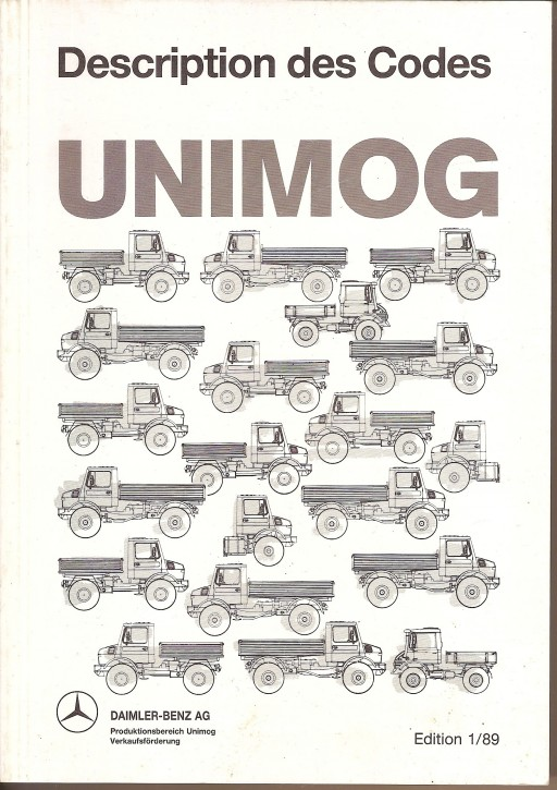 Description des Codes Unimog 1/89 - Original - 324031027