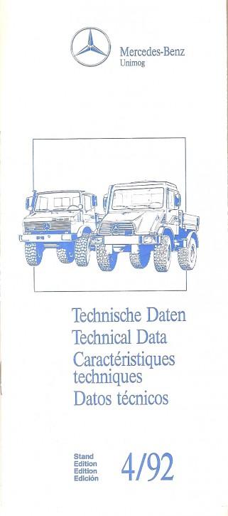 Technische Daten Unimog 4/92 - Original - 605000007