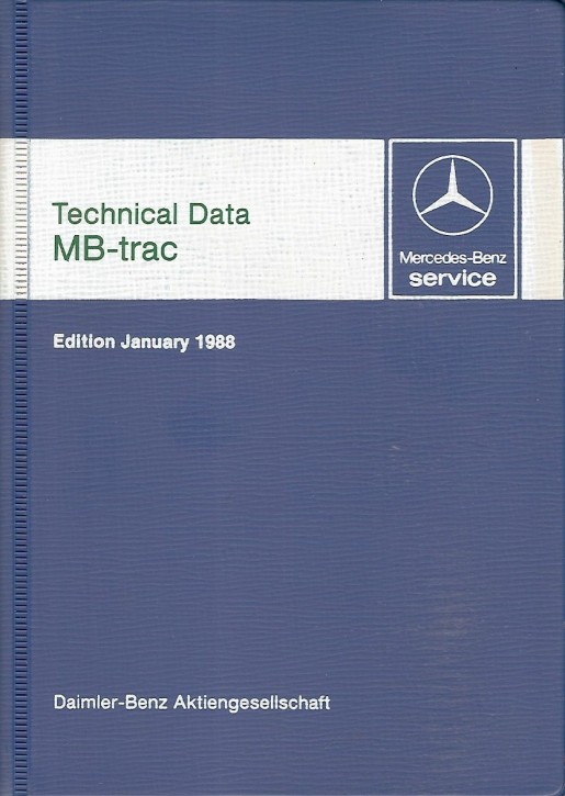 Technical data book MB-trac 1988 - 30 402 31 21 Original - 384021004