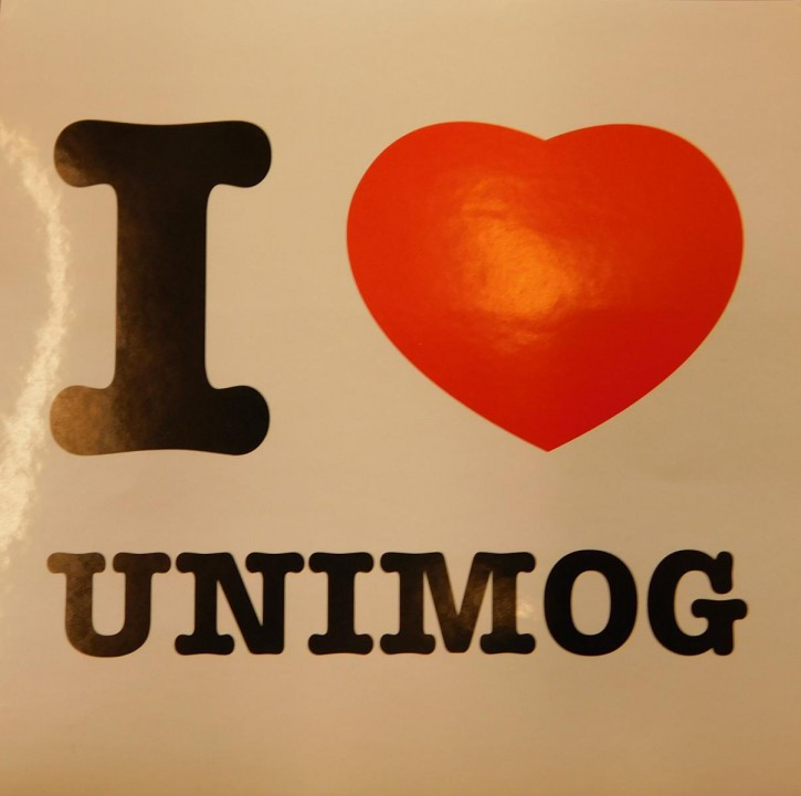 "Aufkleber ""I love Unimog"""
