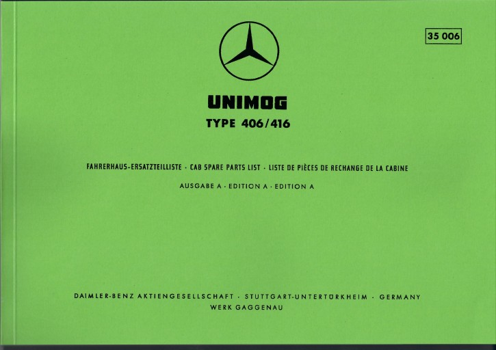 Ersatzteilliste Fahrerhaus Unimog Type 406 416 35006 Neu - 204001019