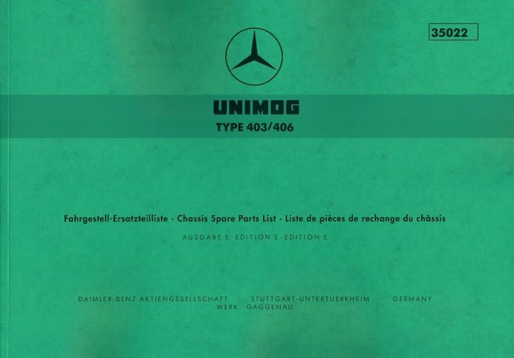 Ersatzteilliste Unimog 403/406 - 35022 - 204001003