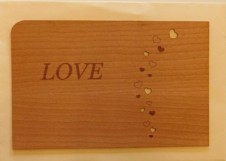 Holzpostkarte: Love