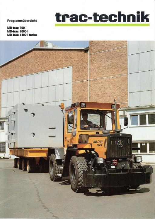 Prospekt 013 Programmübersicht MB-Trac 700I, 1000I und 1400I turbo - 606000013