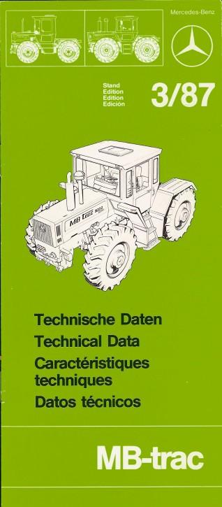 Technische Daten MB-trac 3/87 - Original - 605000009