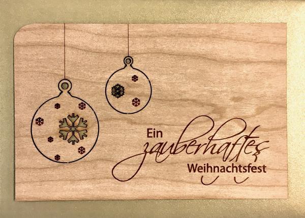 Holzpostkarte: Ein zauberhaftes Weihnachtsfest