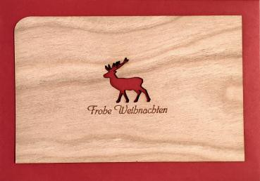 Holzpostkarte: Frohe Weihnachten mit Elch