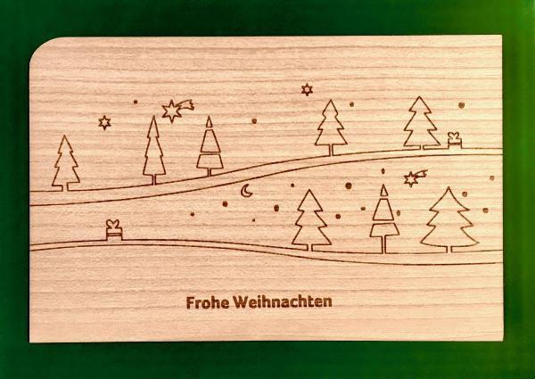 Holzpostkarte: Frohe Weihnachten mit Tanne