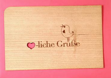 Holzpostkarte: Herzliche Grüße