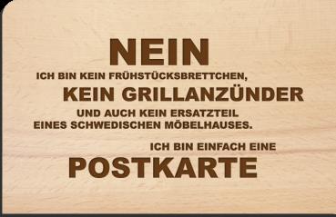 Holzpostkarte: Nein, ich bin kein Frühstücksbrettchen,...